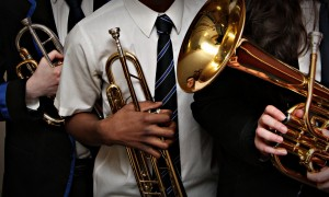 Mhairi Edwards, Evening Telegraph, Arbroath Music Festival is well underway at Webster Theatre. Picture shows; Dundee's RC St John's Secondary School pupils Bailey Brennan, 17, Tega Digba, 14 and Claudia Carena, 17 were all due to perform for brass solo competitions. Wednesday 8th March.
